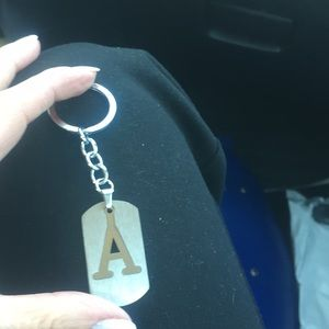 stainless steel metal keychain ev letter avail